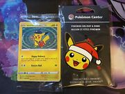 """Pokemon Center """"exclusive"""" """"sold Out"""" Special Delivery Pikachu Card And Ornament"""