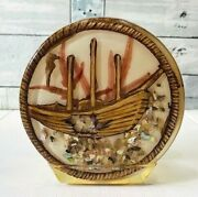 Vintage Acrylic Napkin Holder Shipwreck Under The Sea With Shells And Abalone