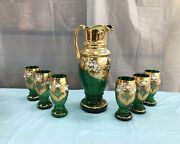 Antique Czech Bohemia Chrystal Decanter With Glasses Serving Set