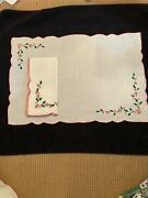 Leron Linens - Rectangular Christmas Hand Embroidered Placemats