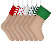 6 Pack Assorted Style Natural Burlap Stocking For Hanging Christmas Gifts Craft