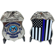 Detective Va Veterans Affairs Administration Challenge Coin Police Thin Blue Lin