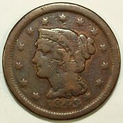 1849 Braided Hair Large Cent Piece ☆☆ Cleaned ☆☆ Great Set Filler 356