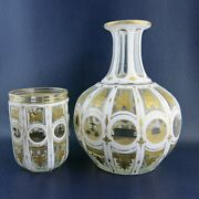 Bohemian City White Cased Opaline Cut To Clear Grapevine And Gilt Tumble Up Cup