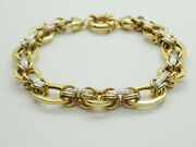New Real 14k Yellow And White Gold Open Link Braceletturkey15.4 Grams8signed