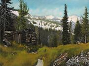 Robert West Trapperand039s Cabin At Yankee Fork 8 Mile Original Oil Painting 18x24