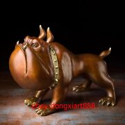 54 Cm Chinese Art Deco Pure Brass Painted Bulldog Dog Abstract Animal Sculpture