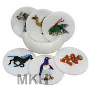 Marble Handmade Animal Design Coaster Set Of 6 Pieces With Holder Free Shipping