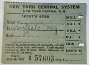 Antique 1942 New York Central Railroad Railway System Agents Stub Nyc Rr Ticket