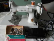 Singer Featherweight 221k Sewing Machine. White Case Pedal And Attachments Clean