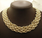 18 Bold Shiny Multi Row Wide Rope Link Chain Necklace Real 14k Yellow Gold