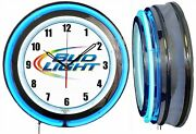 Bud Light Beer Colored Logo 19 Double Neon Clock Blue Neon Man Cave Bar Numbers