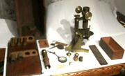 Antique 1800and039s T.h. Mcallister Brass Lab Microscope W/ Box And Lens Capsule Parts