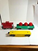 Lionel O Scale Lot Of Three Rolling Stock Cars Including U.p. Flat Car