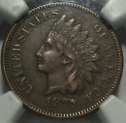 = 1877 Ngc Xf45 Indian Cent Super Eye Appeal Certified Key Date Free Shipping