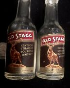"""Vintage """"old Stagg Labeled Whiskey""""2 Labels Nips And Salt And Pepper Set"""