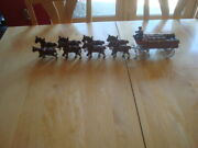 Vintage Cast Iron Beer Wagon With 8 Clydesdale Horses Dog And 28 Wood Barrels