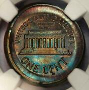 Ngc Ms64 Reverse Die Cap Lincoln Cent Mint Error Rainbow Toned Great Eye Appeal