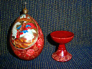 Russian Hand Painted Enamel Wooden Egg With Base And Brass Cupola Tip 20th C 6x3