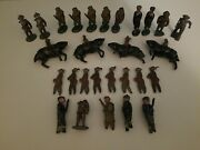 Lot 28pc Vintage Army Men Barclay Marx Tin Lead Toy Soliders Wwi Horse Flat
