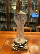 Vintage Bohemian Cut Crystal Glass And Brass Table Lamp 21 Tall 6 1/2 X 6 1/2
