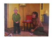 """1960's Painting """"listening To Records"""" Mother And Son Phonograph Dick Fort Chicago"""