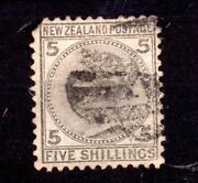 New Zealand 1878 5/- Grey Sg186 Fine Used Pulled Perf Cat Val £300 Ws20219
