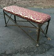 Antique Bronze Neoclassical Style Window Bench W Fine Vintage Upholstery Fabric