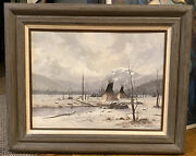 Gerald Vinson Lilly Original Painting -near Wind River Wyoming- 32x27andrdquo Framed