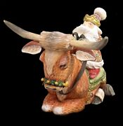 Magnificent Russian Santa Hand Carved And Painted Riding Texas Cow Longhorn
