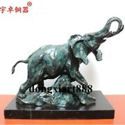 30 Cm Chinese Bronze Marble Wealth Lucky Animal Elephant Statue Home Decor Gift