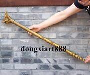 90 Cm Chinese Pure Bronze Water Fire Dragon Stick Weapons