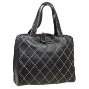 Wild Stitched Quilted Cc Hand Tote Bag 6532119 Purse Black Leather 33992