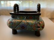 Chinese Cloisonne Incense Burner Green Square Vintage