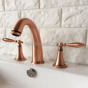 Red Copper Double Handle Widespread 3 Hole Install Bathroom Vessel Sink Faucet