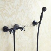 Oil Rubbed Bronze Wall Mounted Bathroom Shower Faucet Hand Shower Spray Set