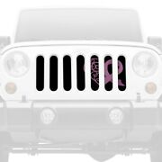 For Jeep Wrangler 87-95 Main Grille 1-pc Right Pink Hearts Breast Cancer Ribbon