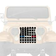 For Jeep Cj7 76-86 Main Grille 1-pc American Tactical Back The Blue White And Red