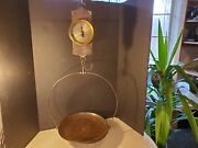 Antique Chatillonand039s New York Spring Balance Scale W Tray General Store Hanging