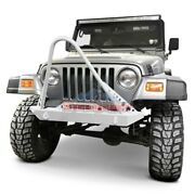 For Jeep Wrangler 97-06 Stubby Cloud White Front Winch Hd Bumper W Stinger
