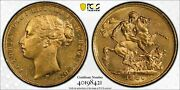 1880-m Australia Long Tail Gold Sovereign Coin Pcgs Ms61 8421