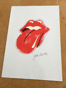 Rolling Stones Logo A3 11.5 X 16.5 Inches Hand Painted By Me John Pasche