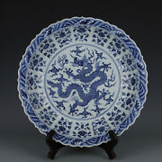 16.7 China Antique Ming Dynasty Xuande Mark Porcelain Blue White Dragon Plate