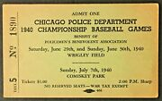 1940 Comiskey Park Wrigley Field Chicago Police Championship Baseball Game Pass
