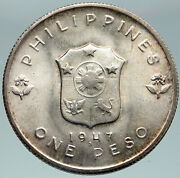 1947 Philippines W Us Wwii General Douglas Macarthur Vintage Silver Coin I87466