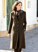 Peruvian Connection Haworth Brown Tweed Dress Coat 2 Lovely