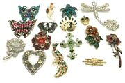 Vintage-contemporary High End Crystal Glass Rhinestone Brooch Pin Lot Of 17