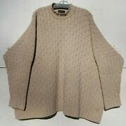 New Eskandar Natural Heavy Weight Cashmere Cable Knit 31andrdquo Long Sweater O/s 2890