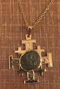 14k Yellow Gold Jerusalem Cross Pendant With Widowand039s Mite Coin And 14k Chain