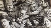 Sons Of Anarchy Fight Scene Massive Art Charcoal Drawing 20x36